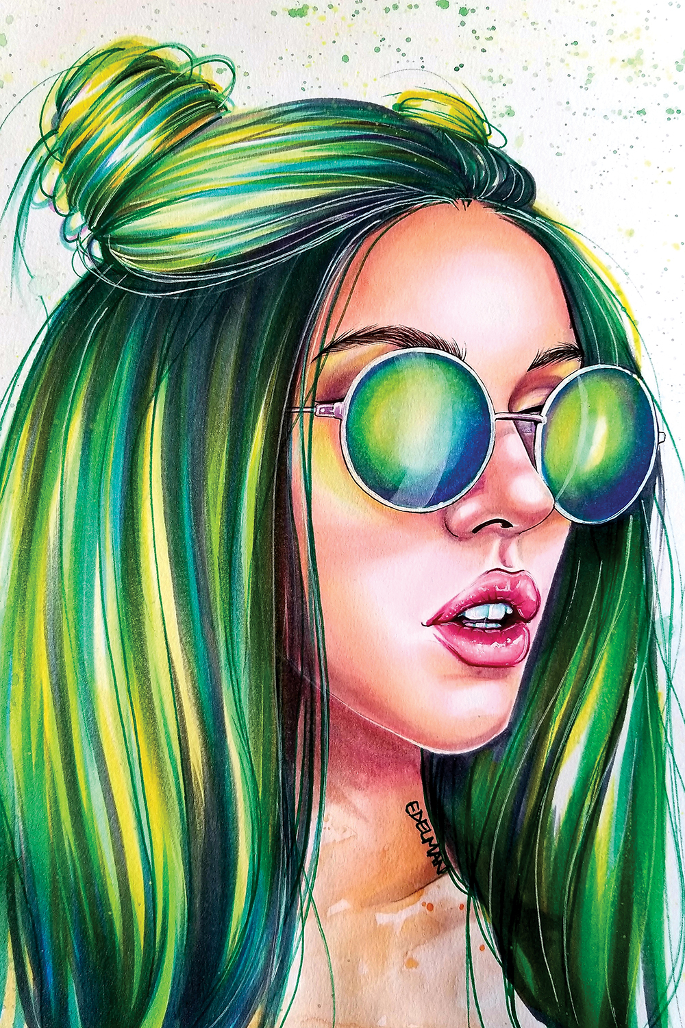 Illustration of woman with green tinted sunglasses and long green hair tied into buns