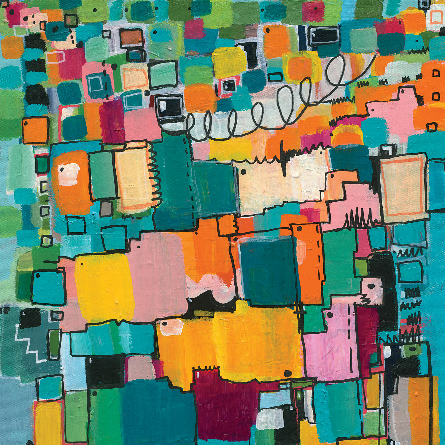 Abstract image with square and linear shapes in teal, blue, yellow, orange, pink, white and black