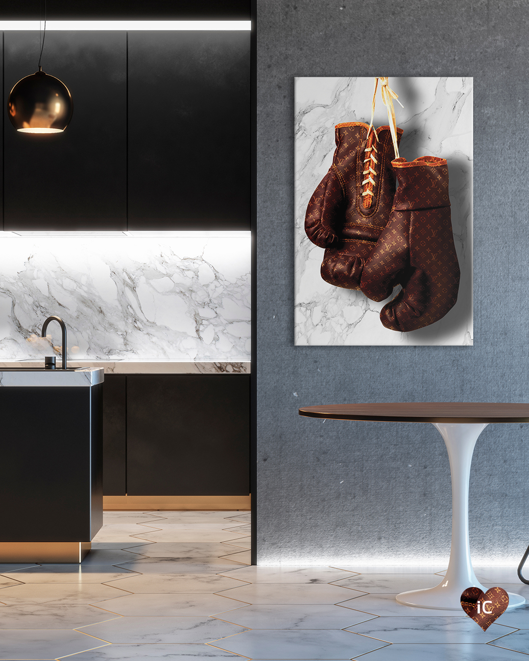 Boxing gloves with Louis Vuitton monogram print on a white marble background on a wall in a room with brown table and gold lamp and a kitchen with a white marble backsplash