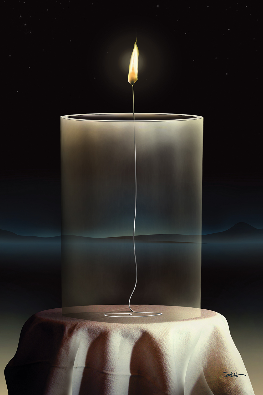 Transparent candle with lit frame on a round tablecloth in front of a dark background