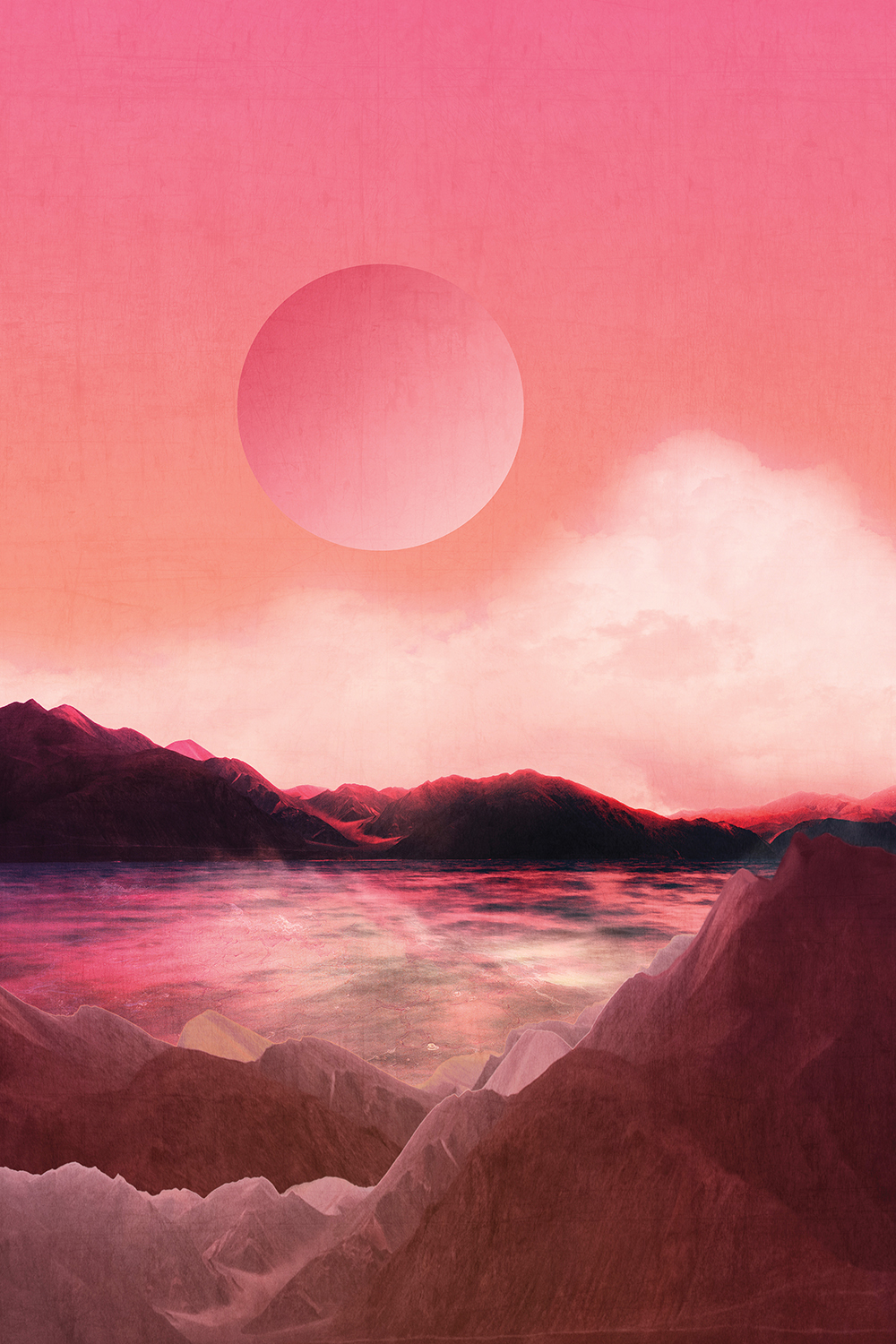 Graphic of a sun setting over a mountain and water landscape in a pink toned dusk