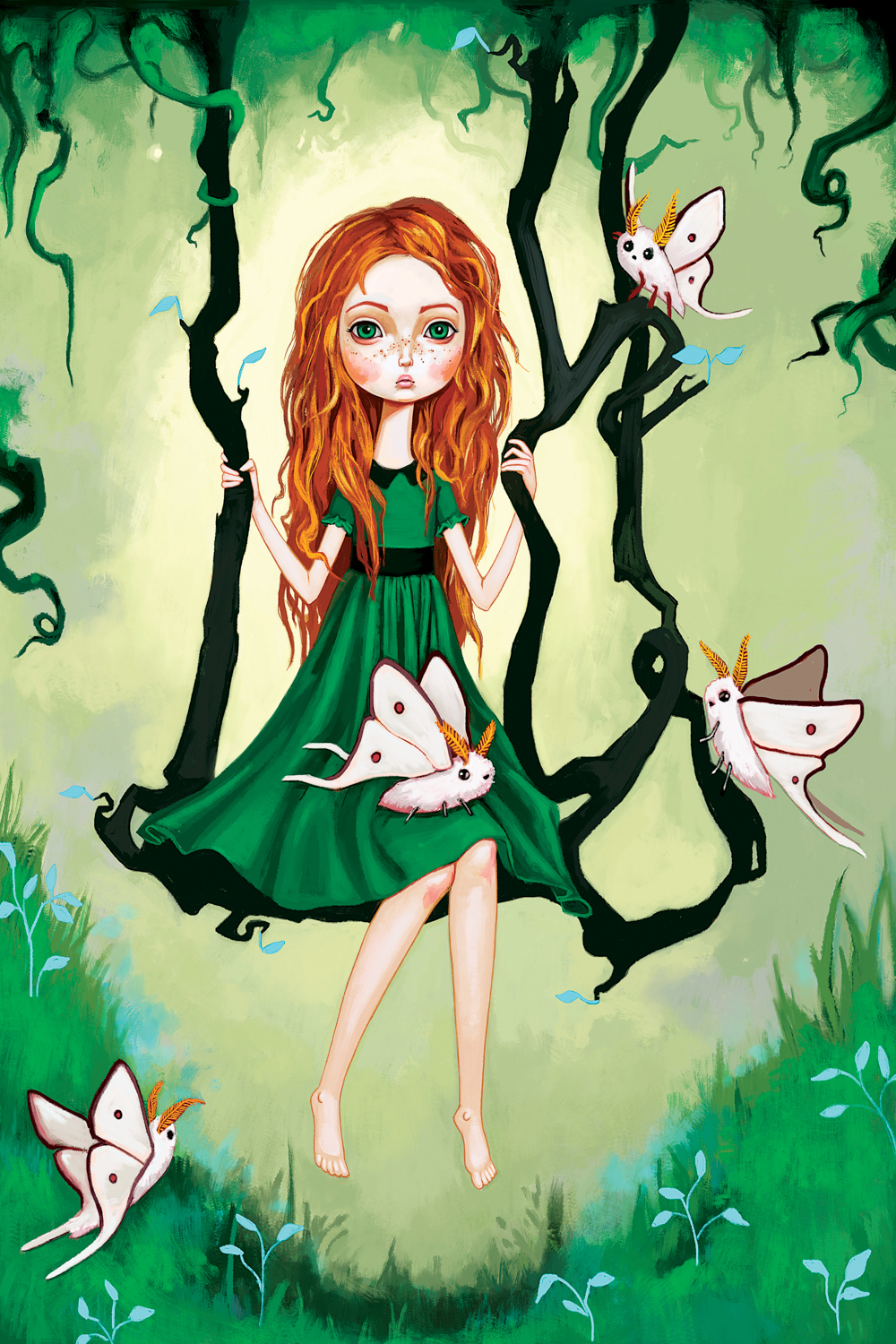 Illustration of a girl with long red hair wearing a green dress sitting on a swing made of vines with butterflies in a green forest
