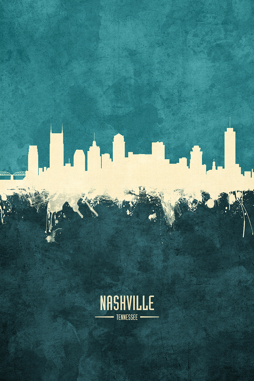 Outline of Nashville skyline on a teal background with text that says Nashville Tennessee