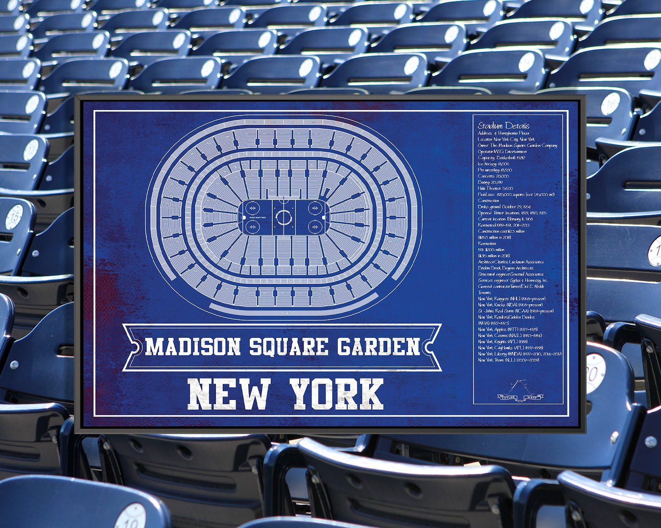 Blueprint of Madison Square Garden in New York with stadium details on the right side