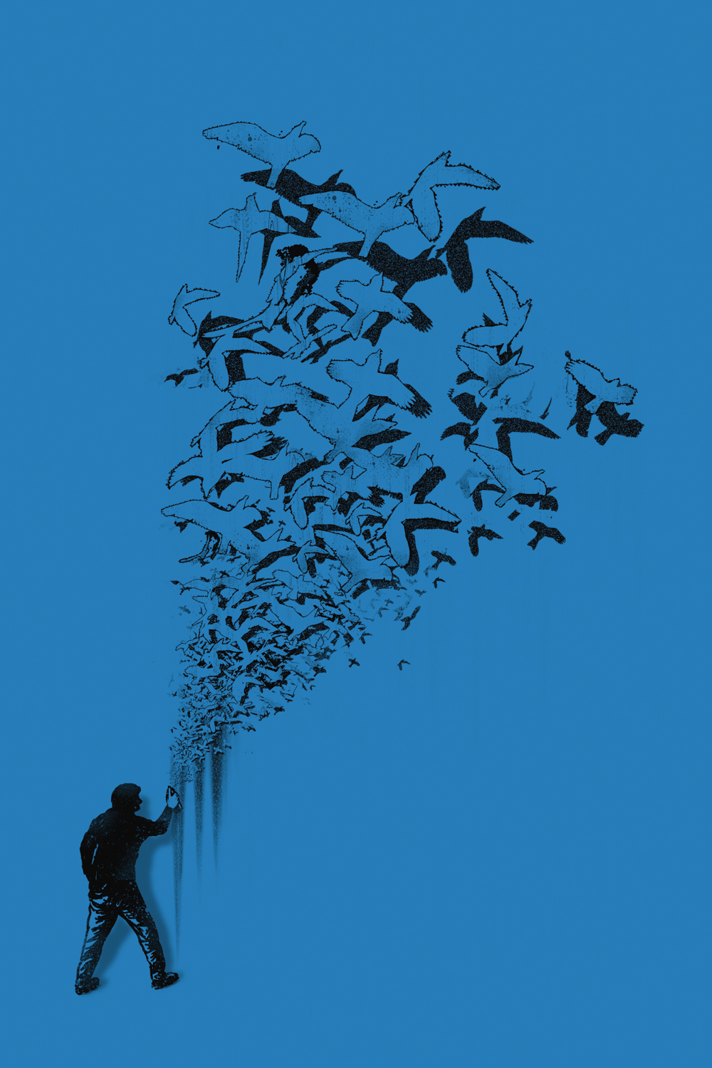 Graphic of man spraying graffiti that turns into a flock of birds on a blue background