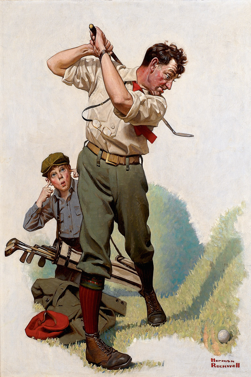 a man about to swing his club at a golf ball with a boy behind him plugging his ears