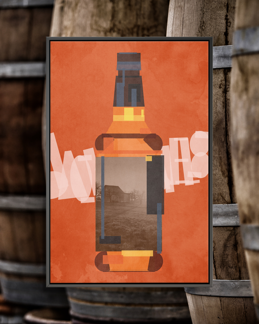 Digital graphic of the outline of a Jack Daniel's whiskey bottle on an orange background