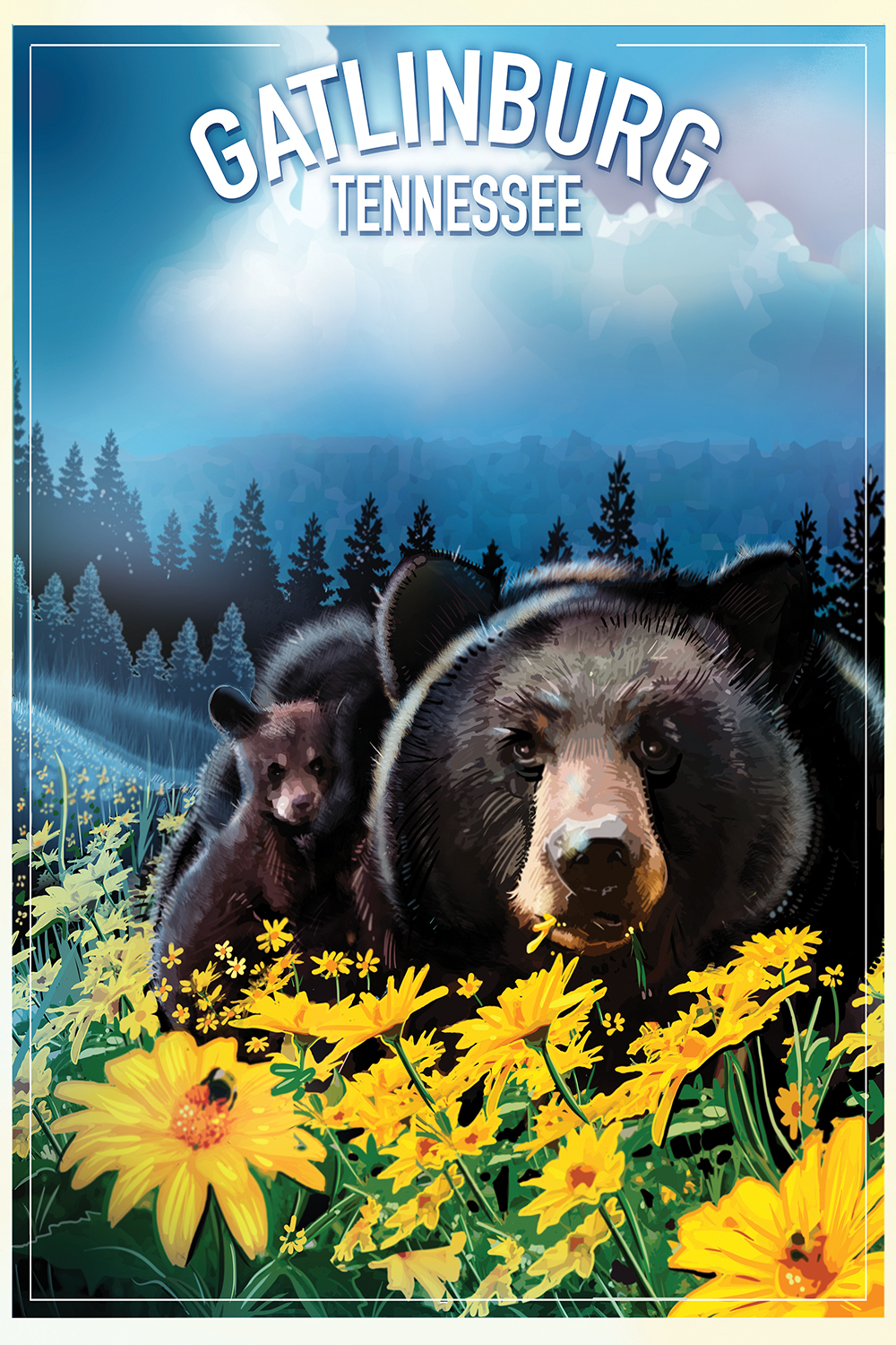 Graphic of adult and baby black bears in a field of yellow flowers with forest in the background and text that says Gatlinburg Tennessee