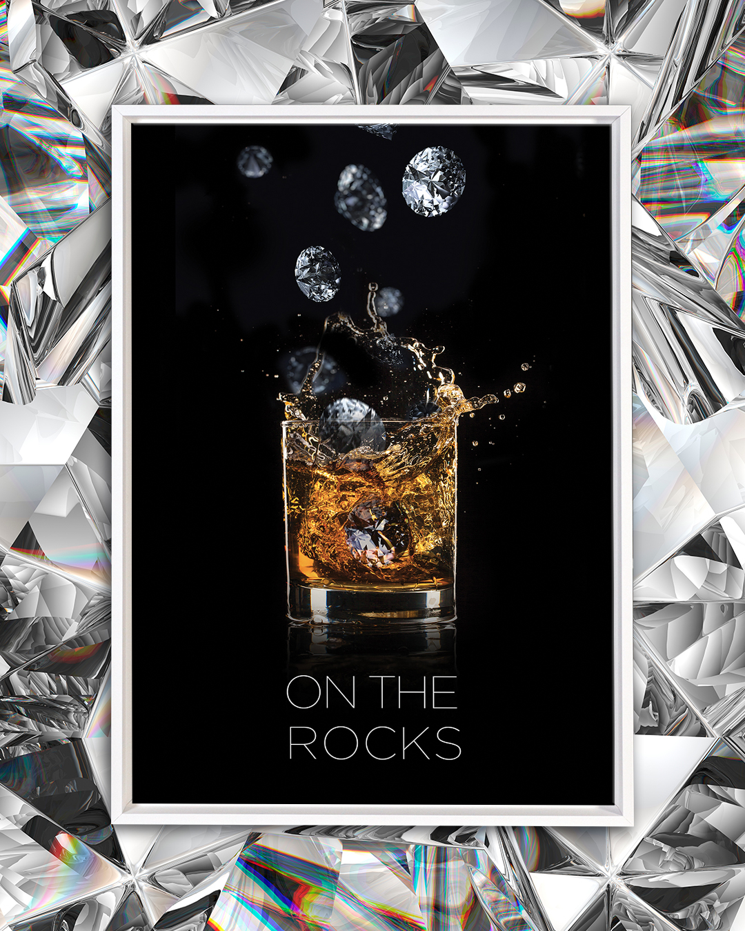 "Photo of a rocks glass with scotch in it and diamonds falling into it on a black background with text that says ""On the rocks"""