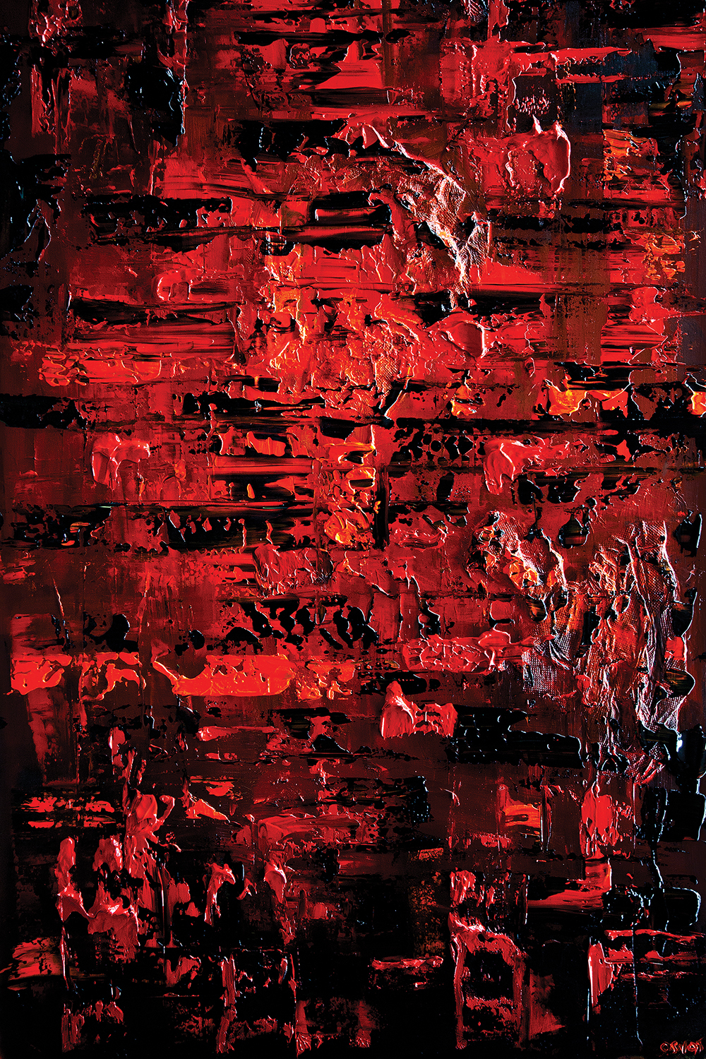 Abstract textured image in shades of red
