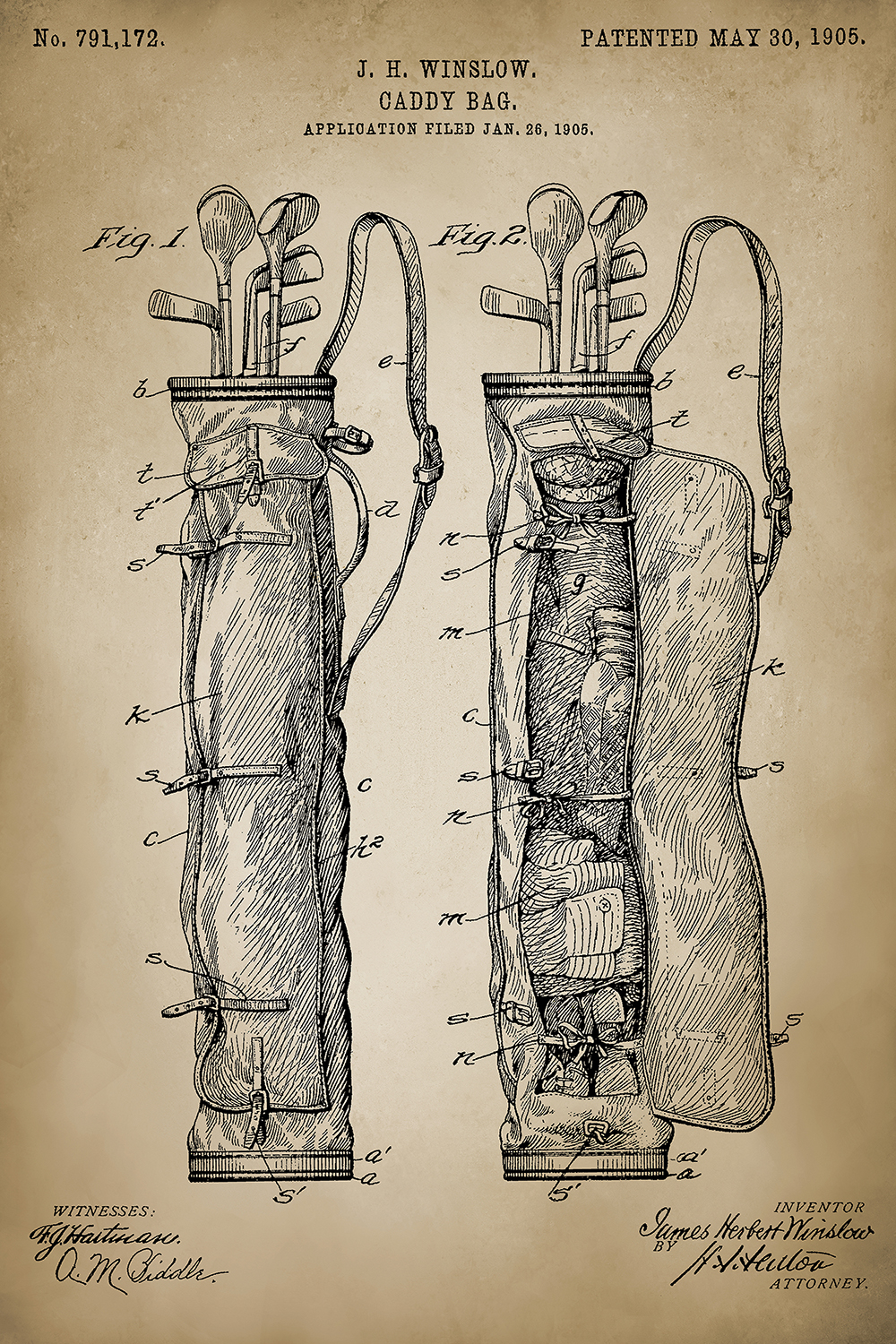 a patent of the golf bag from May 30, 1905