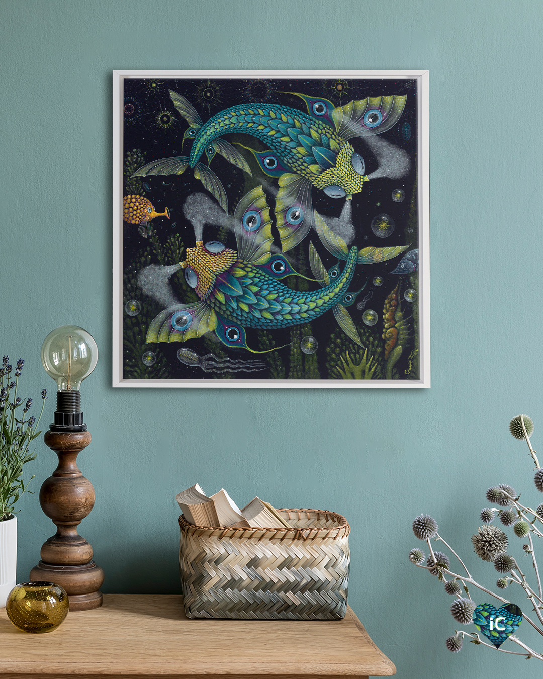 Two blue and green flying fish swimming in a circle around each other