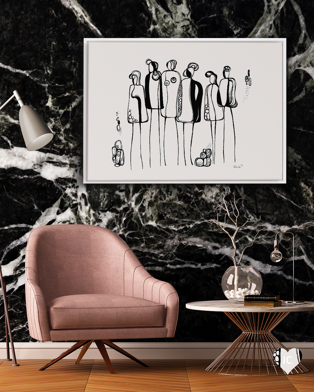 Line illustrations of a group of figures on a white background framed in white in a room with a black marble wall and a pink chair