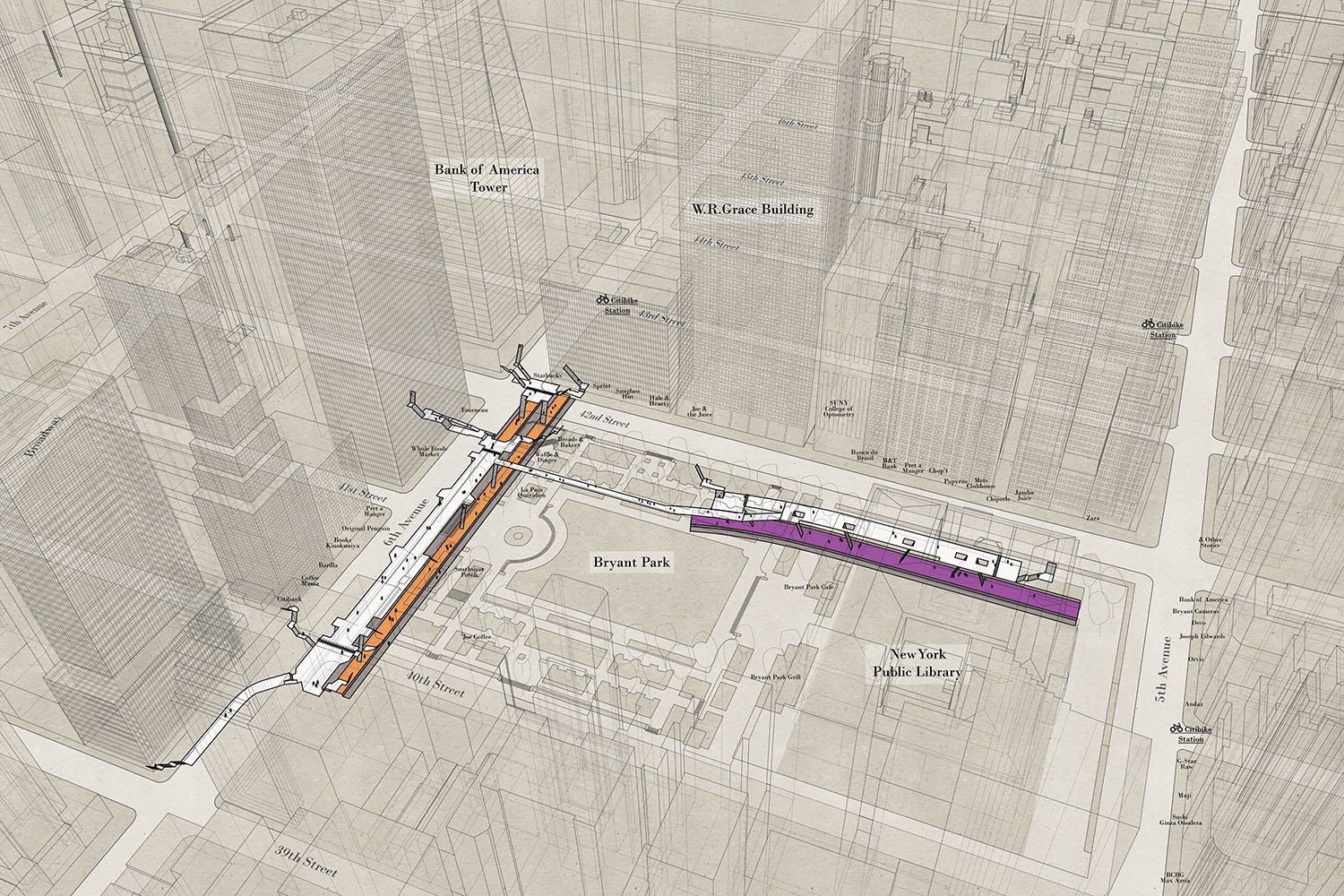 an aerial architectural map that shows New York train stations at 42nd Street Bryant Park