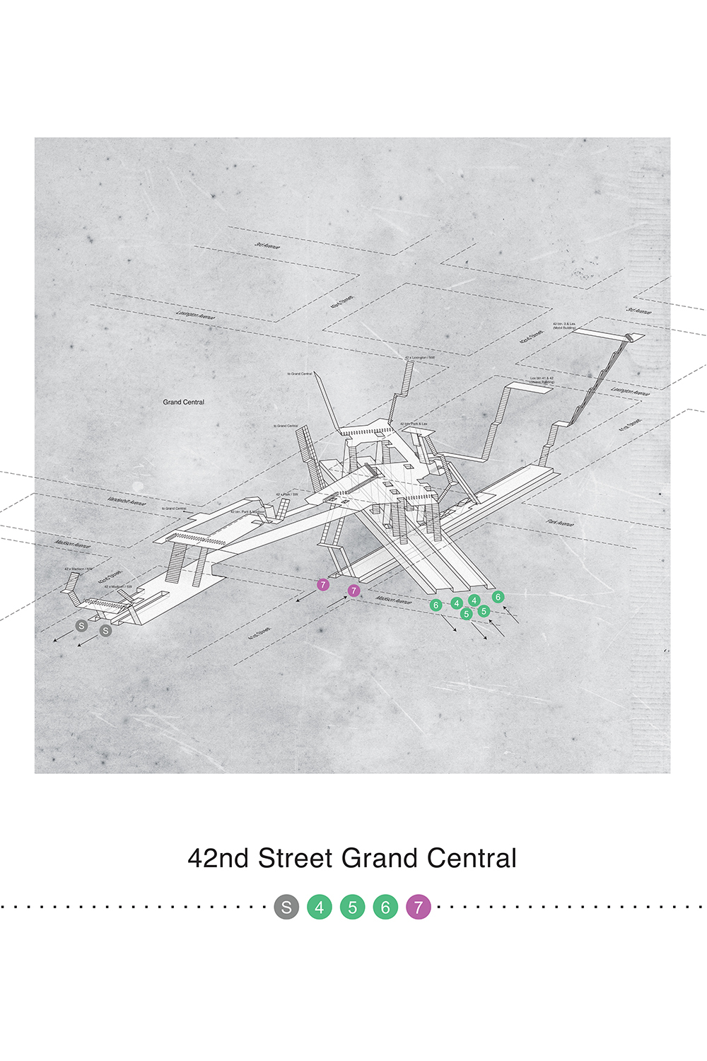 a map showing New York's train lines at 42nd Street Grand Central