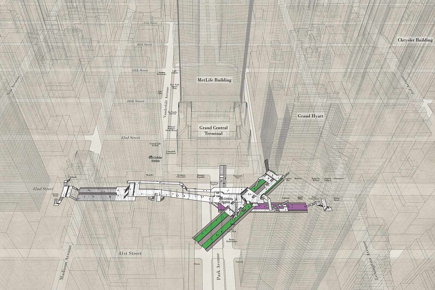 an aerial architectural map showing the New York train station at 42nd Street Grand Central