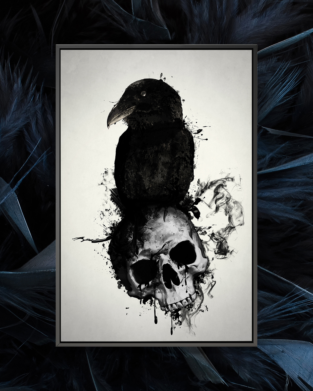 Graphic of a crow sitting on top of a skull on a white background framed over a photo of black feathers