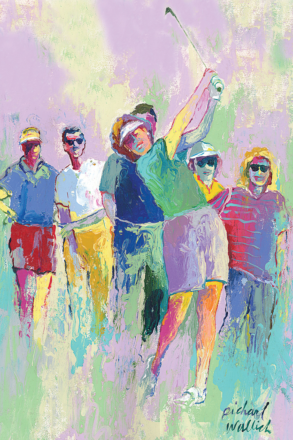 a colorful painting of a woman golfer post-swing surrounded by a crowd