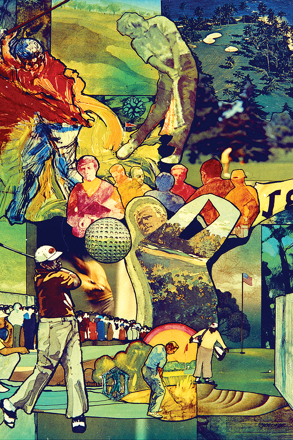 a colorful collage featuring golfers, golf courses, a golf ball and some on-lookers