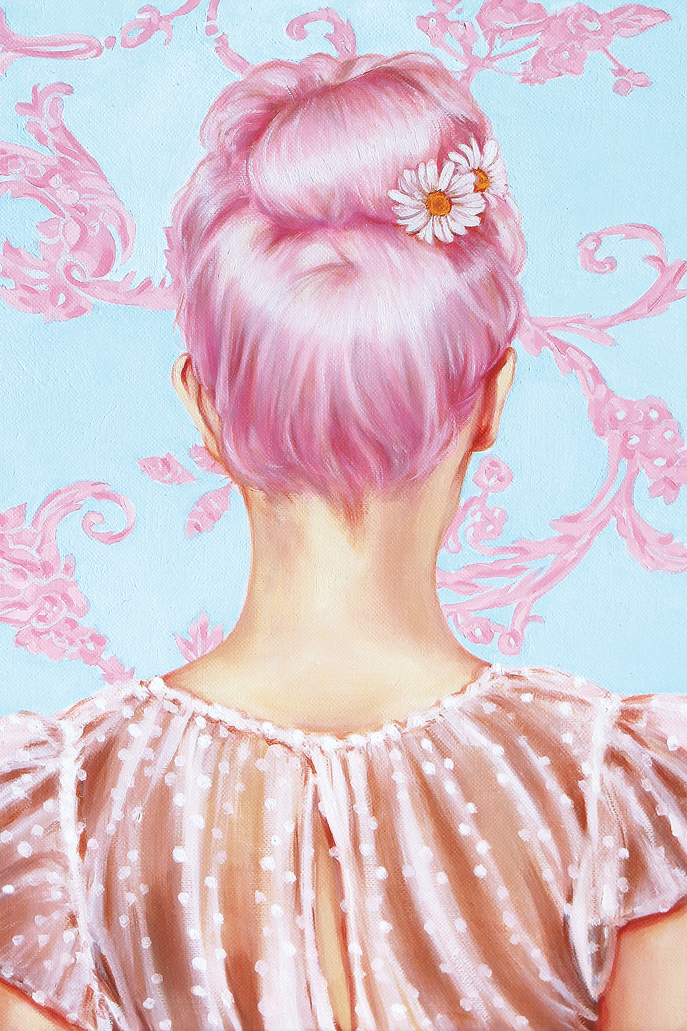 Image of woman with pink hair with daisies pinned to it with her back turned against a light blue and pink filigree patterned wall