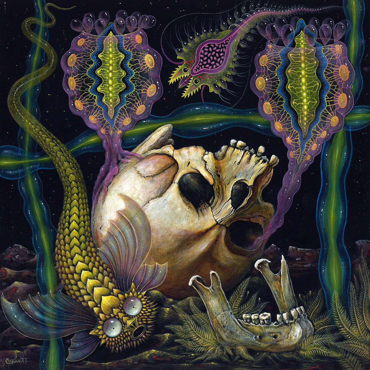 Upside down skull with detached jaw bone surrounded by bacteria-shaped aquatic beings