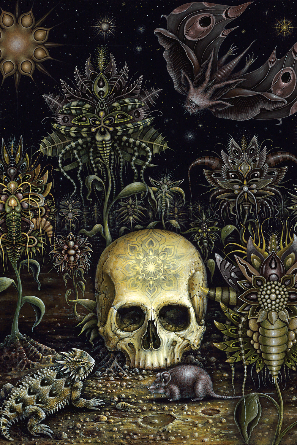Skull with symmetrical pattern on front laying on the ground surrounded by an iguana, a rat, a bat, and ornate flowers