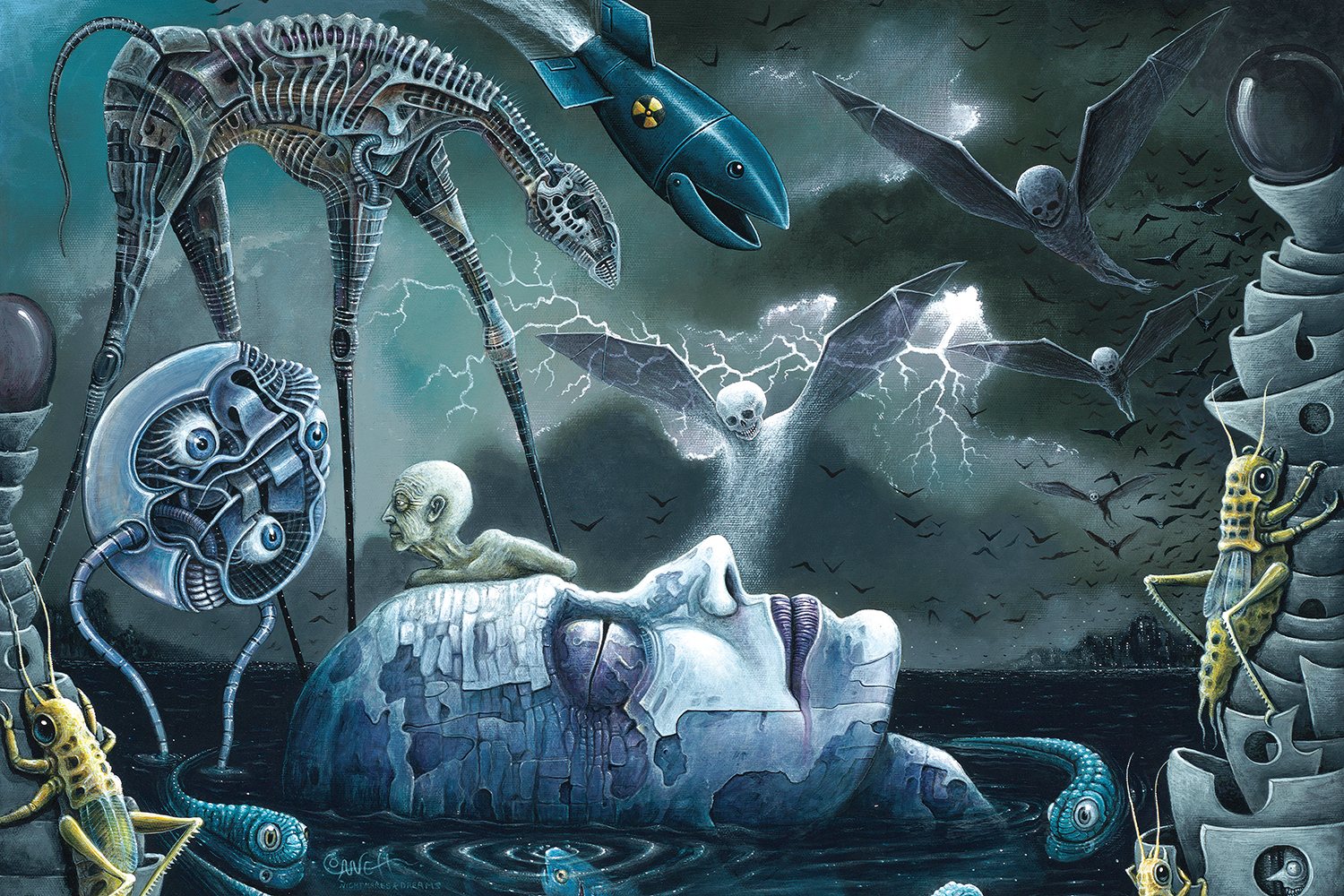 Profile of a mechanical head floating in water with eyes closed surrounded by mechanical fish and insects and flying skeletons
