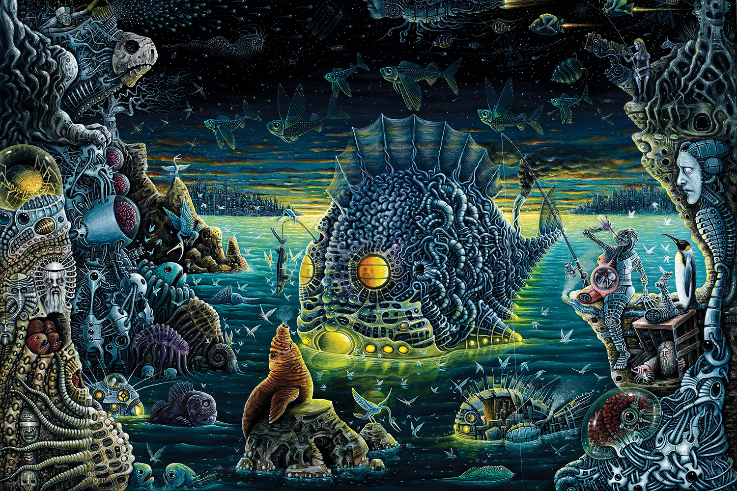 Large angler fish made of metal glowing and floating in water surrounded by other machines, flying fish, and beings