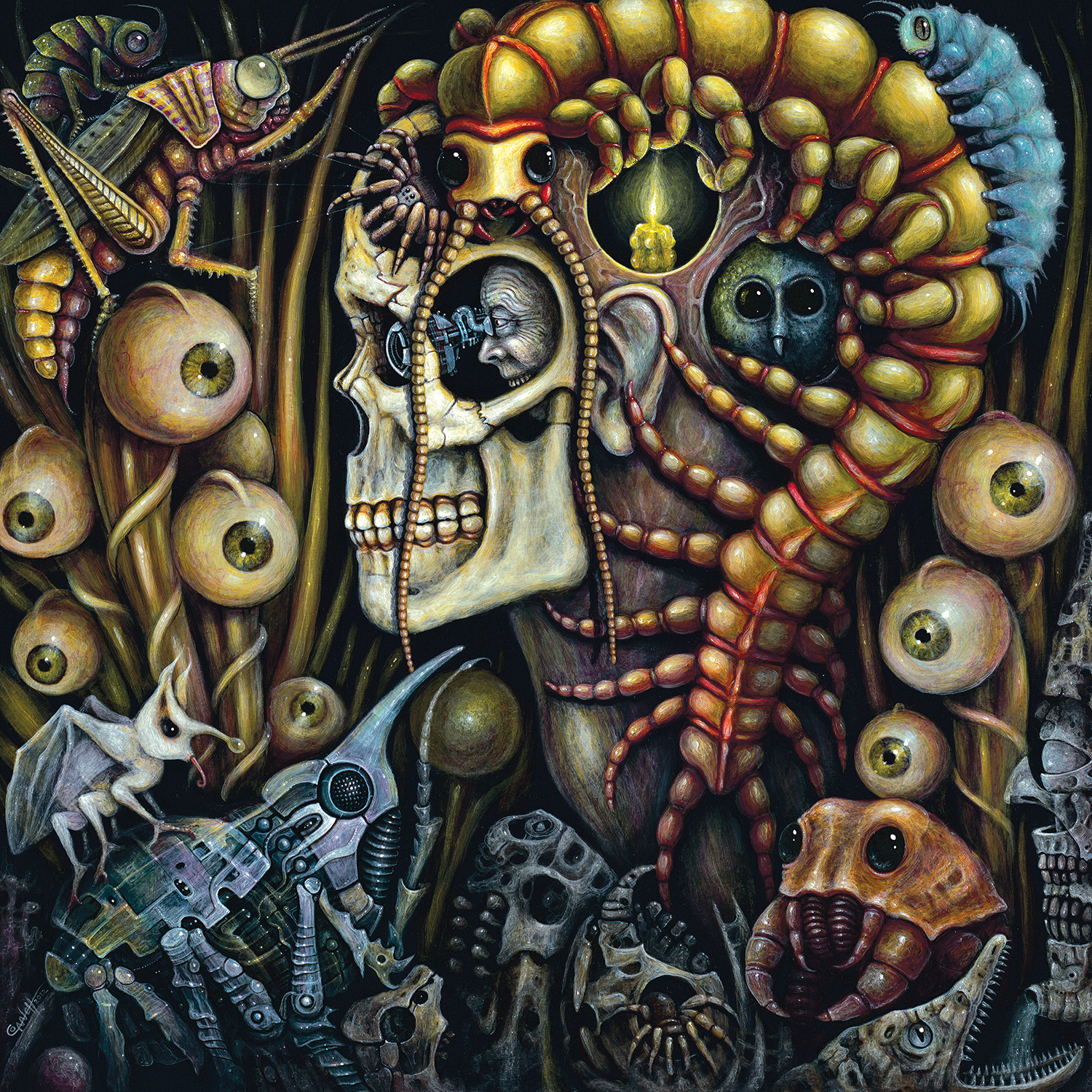 Profile of a skeleton with man inside peeking through eye socket surrounded by insects, machinery, and eyeballs