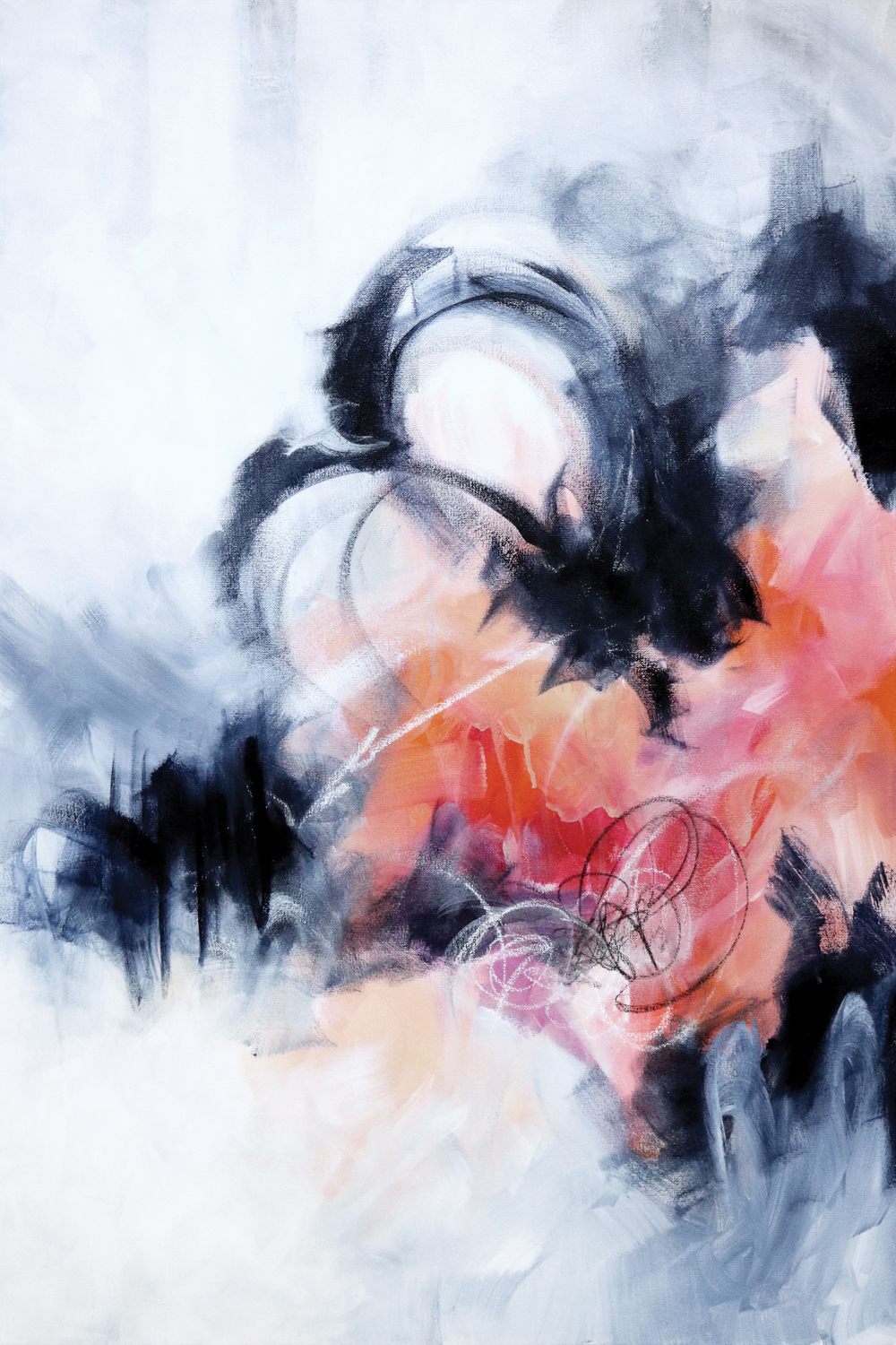 Abstract image of soft brush strokes of black, gray, white, coral, pink and red