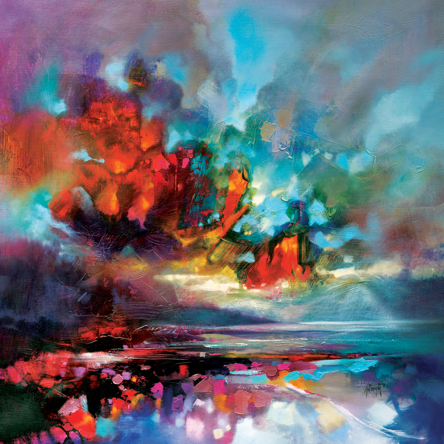 Colorful abstract image resembling a sea horizon and clouds with red, orange, blue, green, purple, white and black