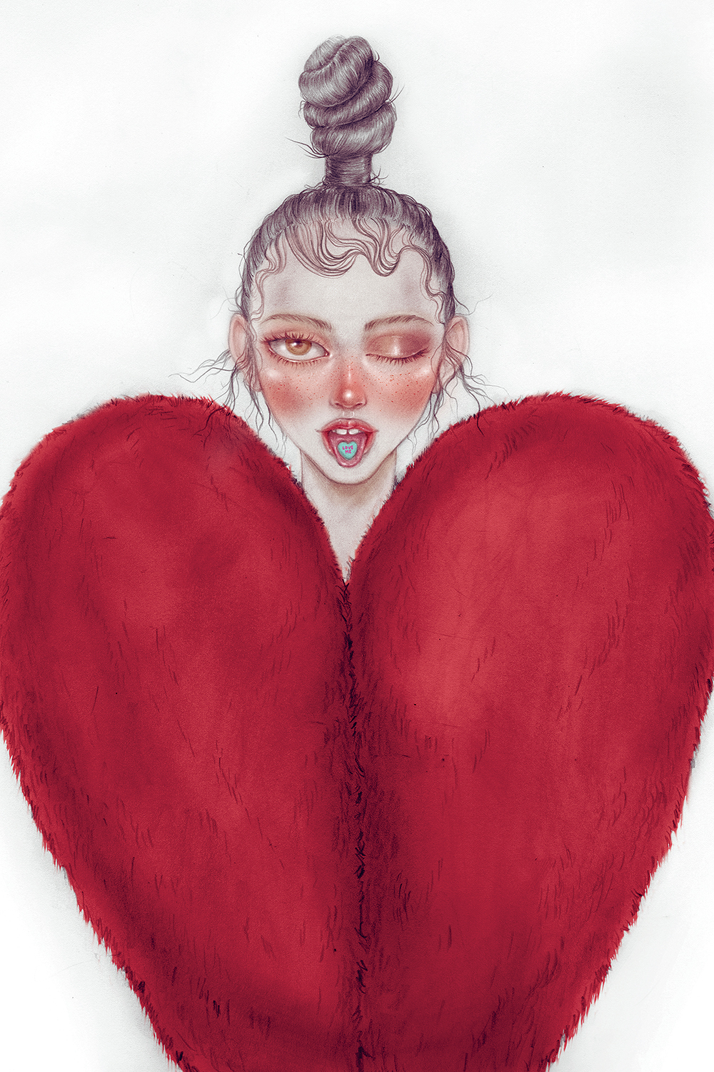 Illustration of female winking with candy heart on tongue and wearing a heart-shaped fur