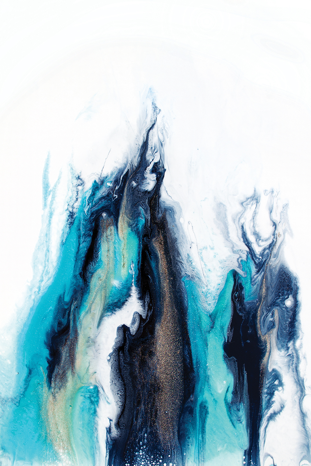 Abstract image resembling rising smoke or dripping liquid in blue, black, gray and white