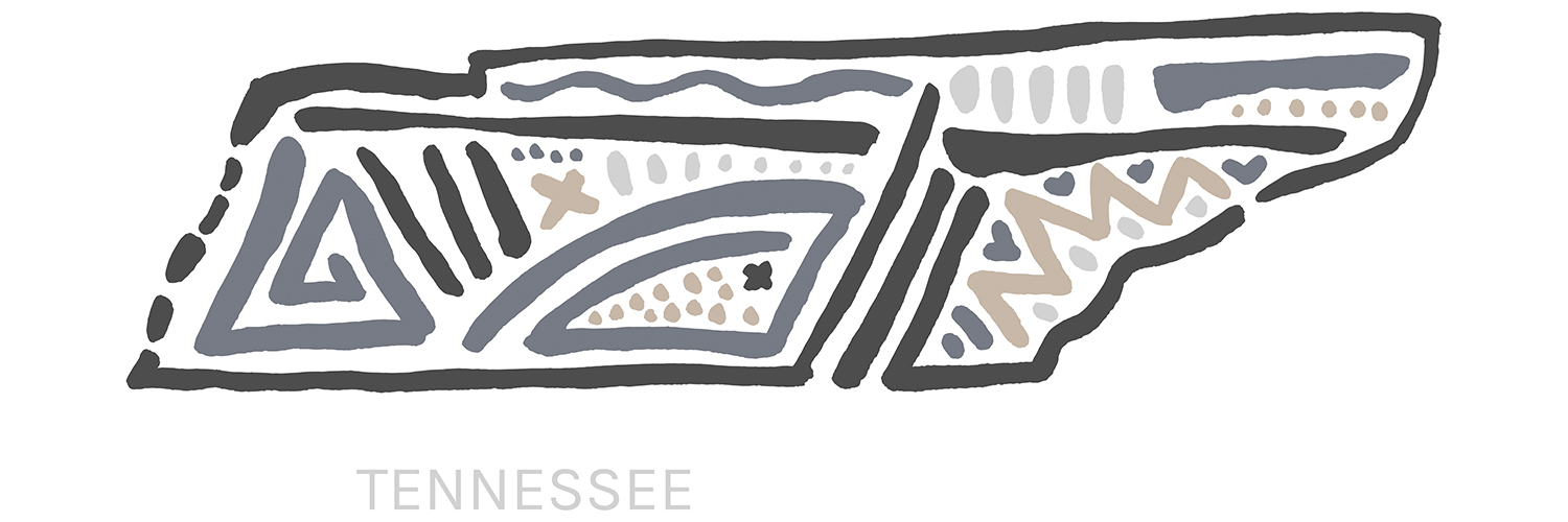 Minimalist line illustration of the shape of Tennessee state