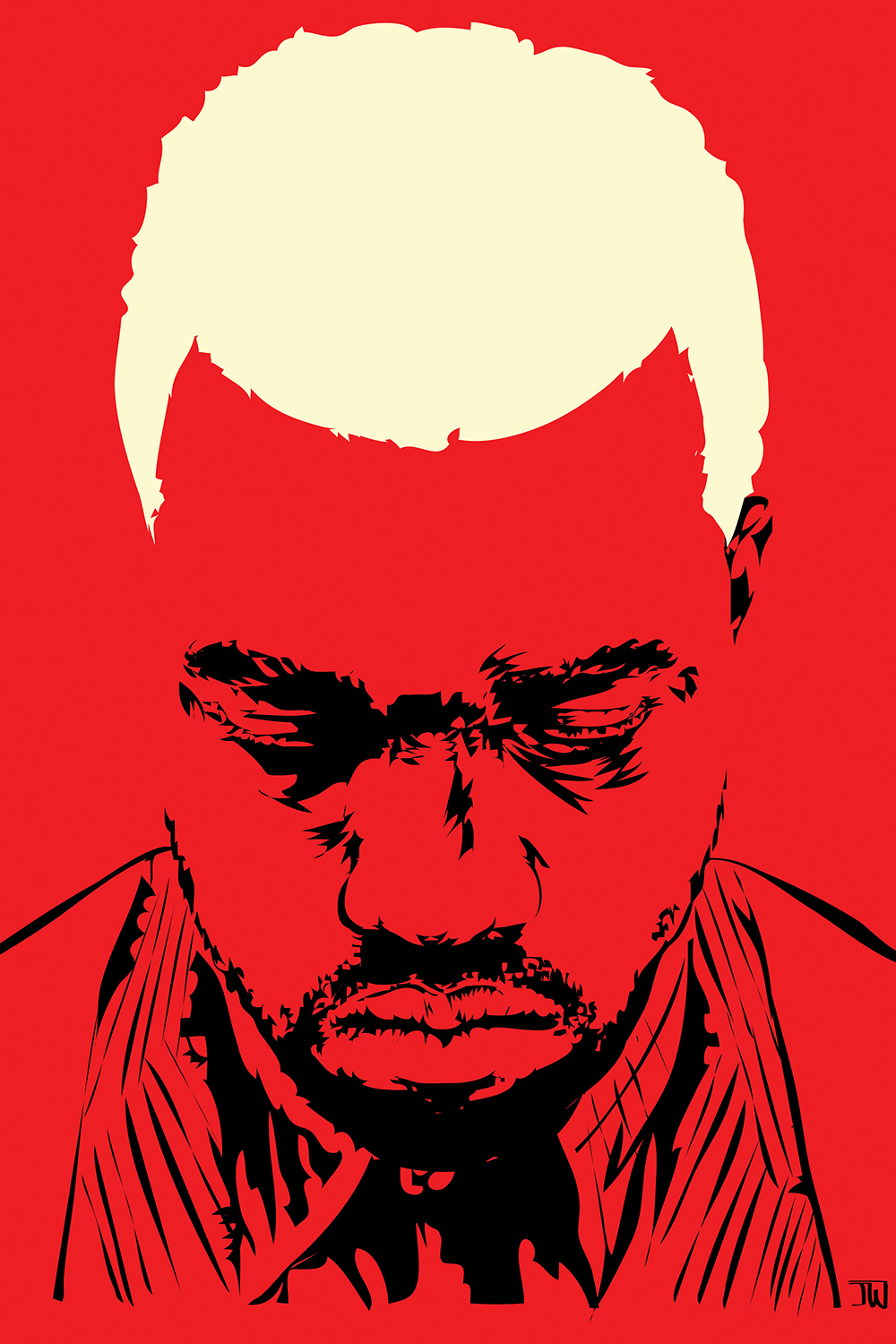 Red image of Kanye West looking downwards with blonde hair