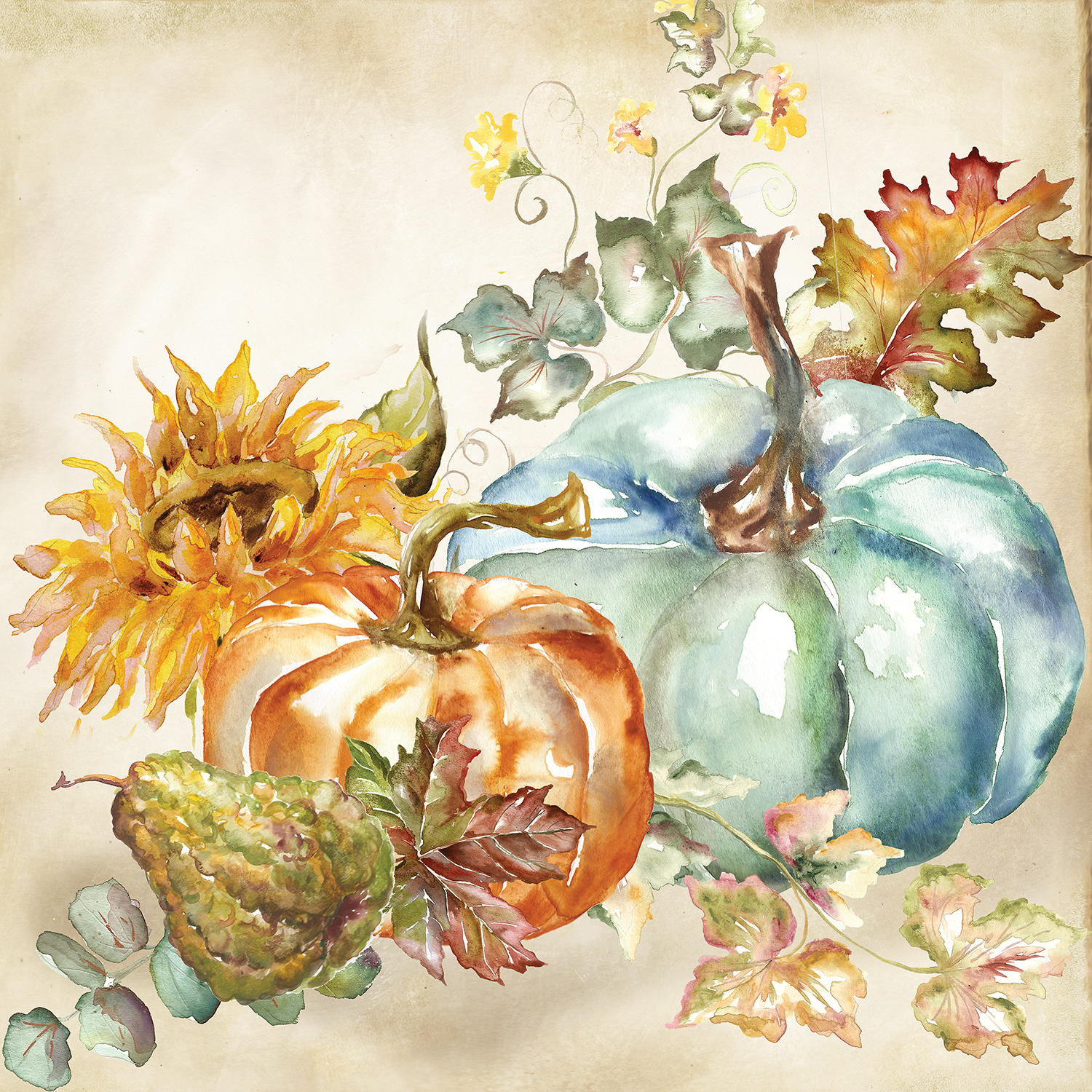 Watercolor pumpkins with sunflower, fall leaves, and pear