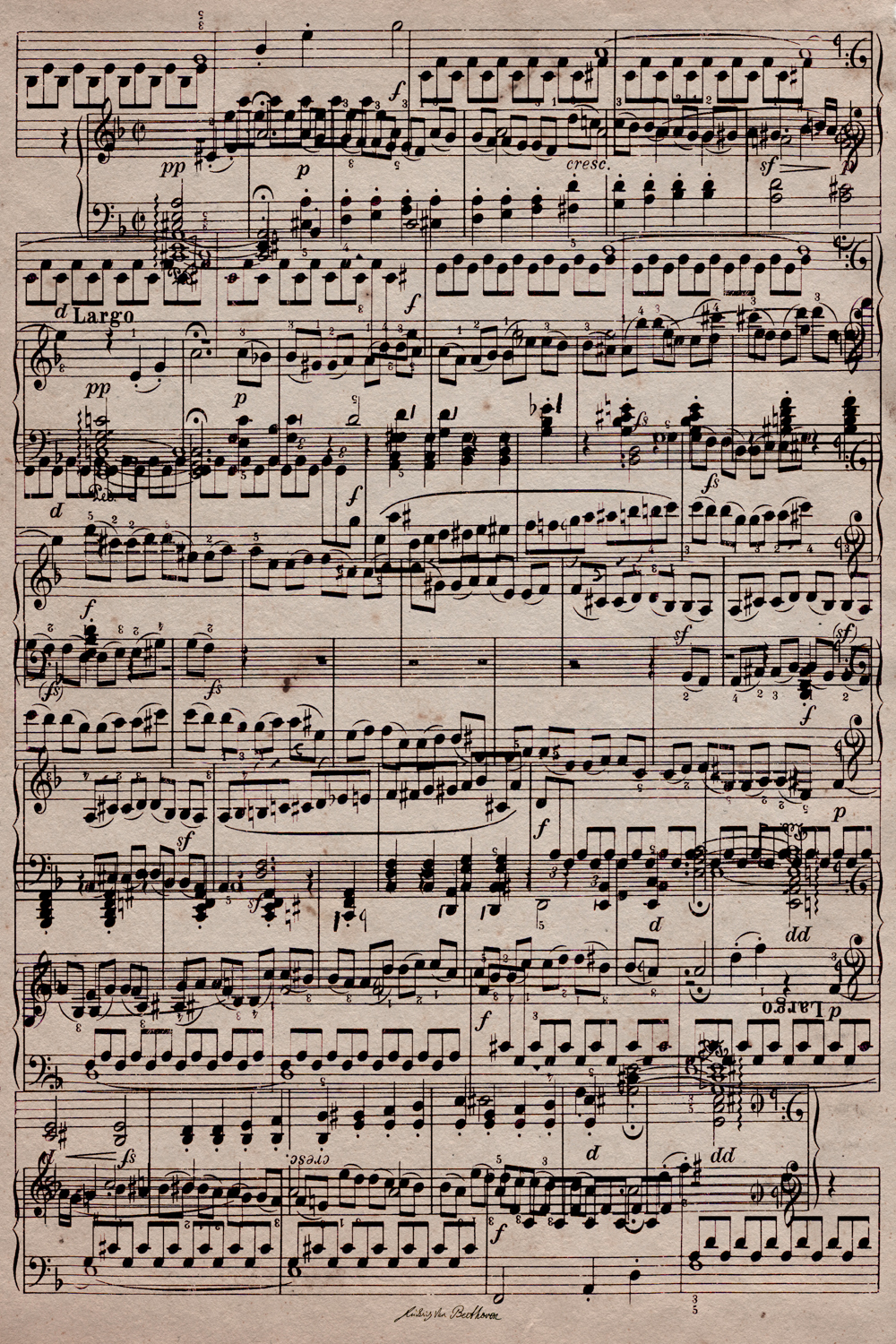 Print of sheet music to Ode to Joy