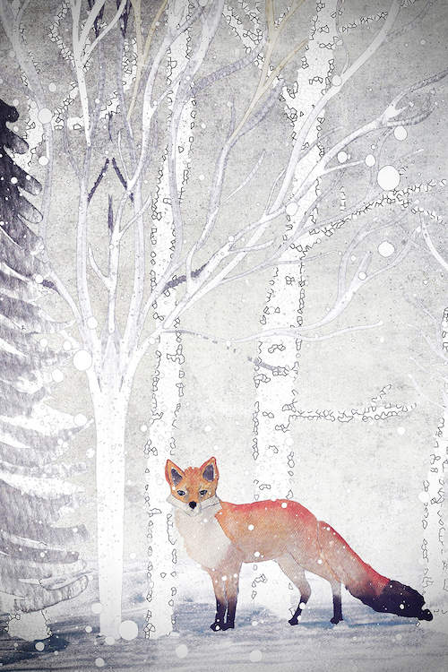 a fox standing next to some white trees while it's snowing