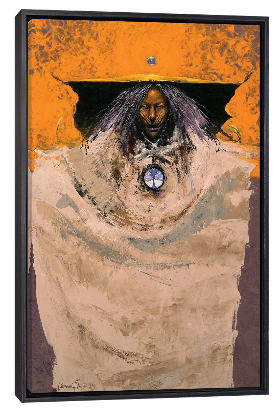 a shaman with wiry gray and purple hair wearing a large tan garment with a gold and black headpiece