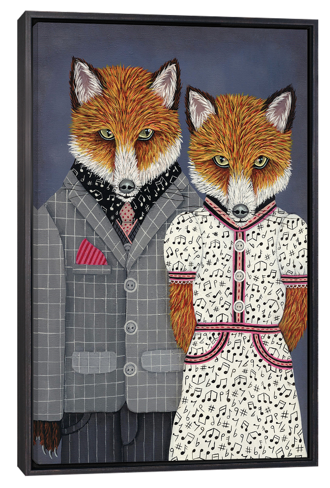 two foxes wearing outfits with music note accents, one in a gray suit and the other in a white dress