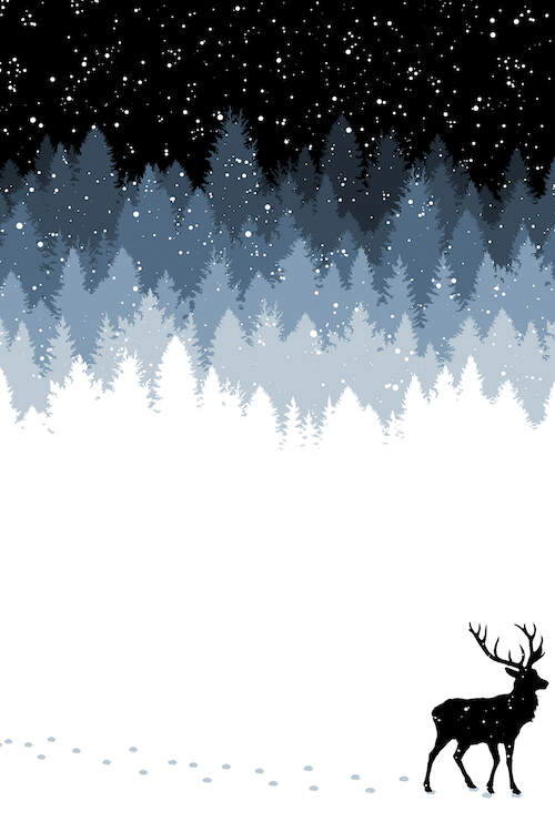 the dark night sky with snow falling over different shades of blue trees onto a snow covered floor with a deer walking by