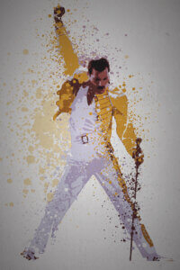 Splattered graphic of Freddy Mercury posing in a yellow jacket with microphone