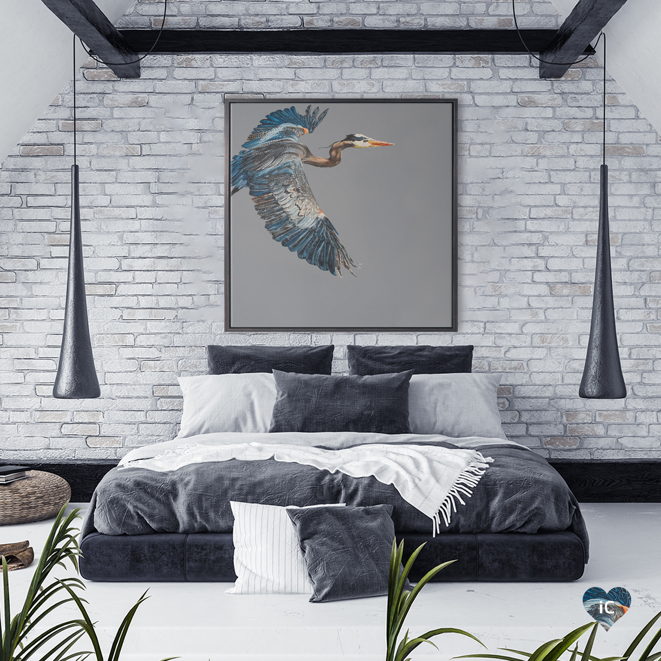 a large blue heron flying into the frame against a stark gray background