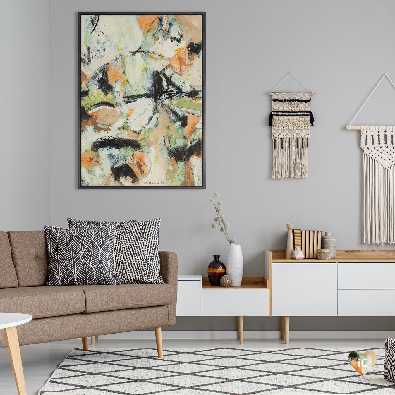 an abstraction featuring peach, tan, green, black, and white