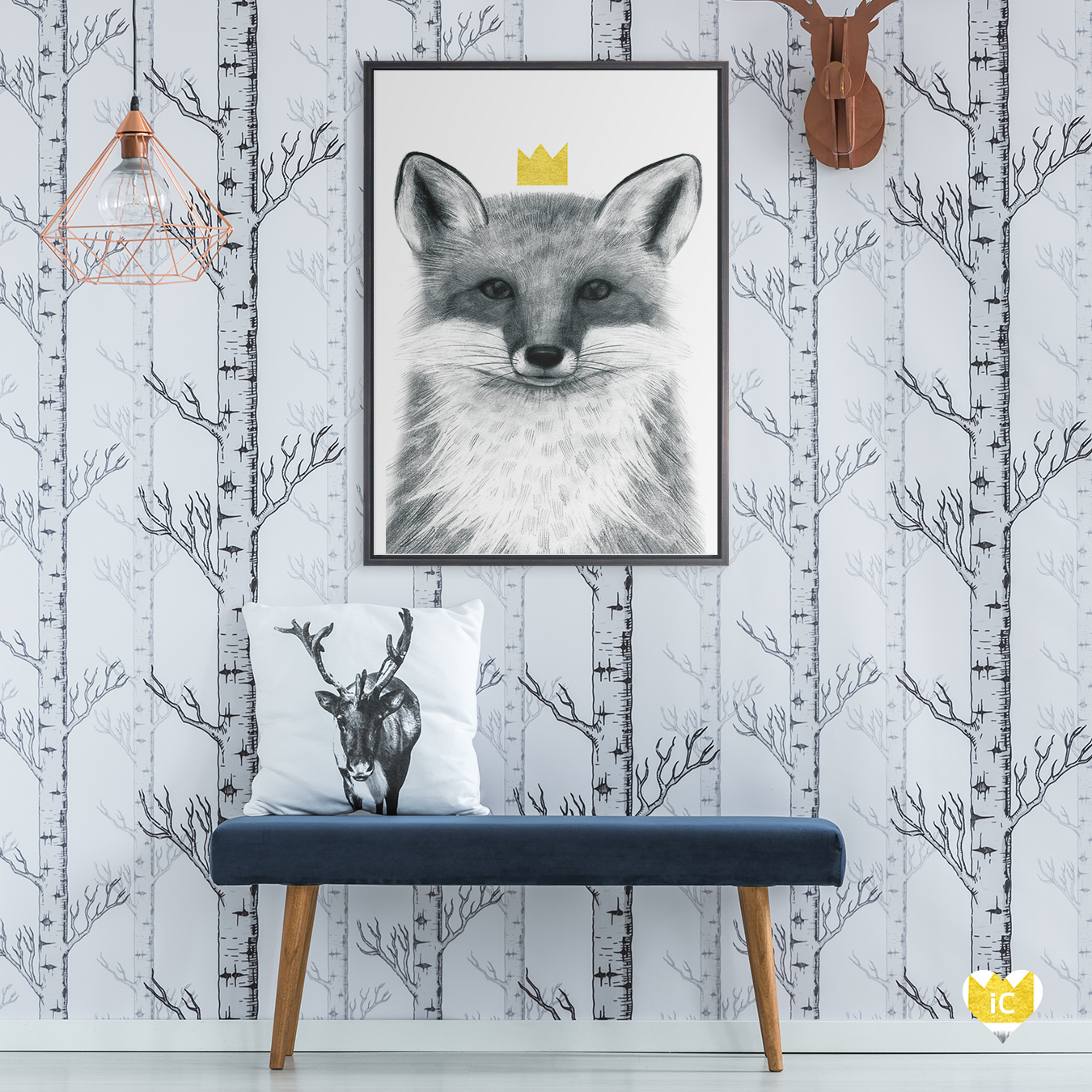 a portrait of a fox in grayscale wearing a yellow crown