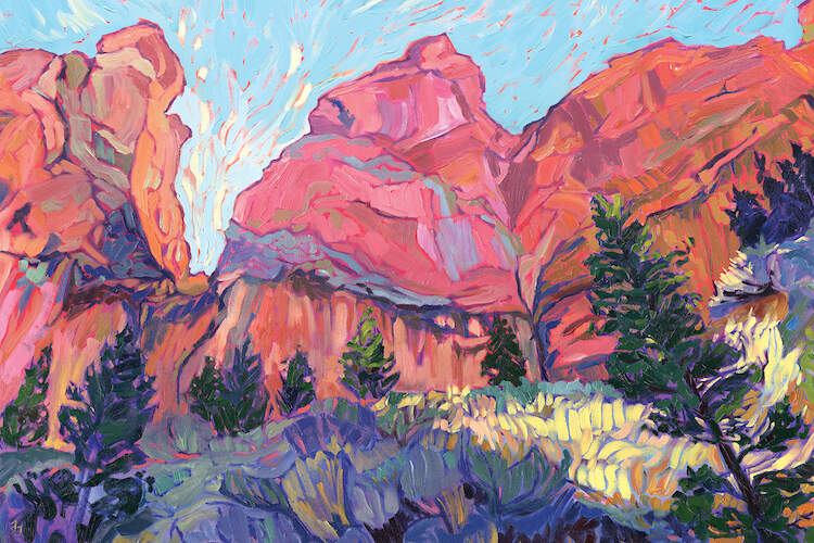 """Afternoon Glory"" by Jessica Johnson shows red mountains under a blue sky with pines and sagebrush glowing in the sun."