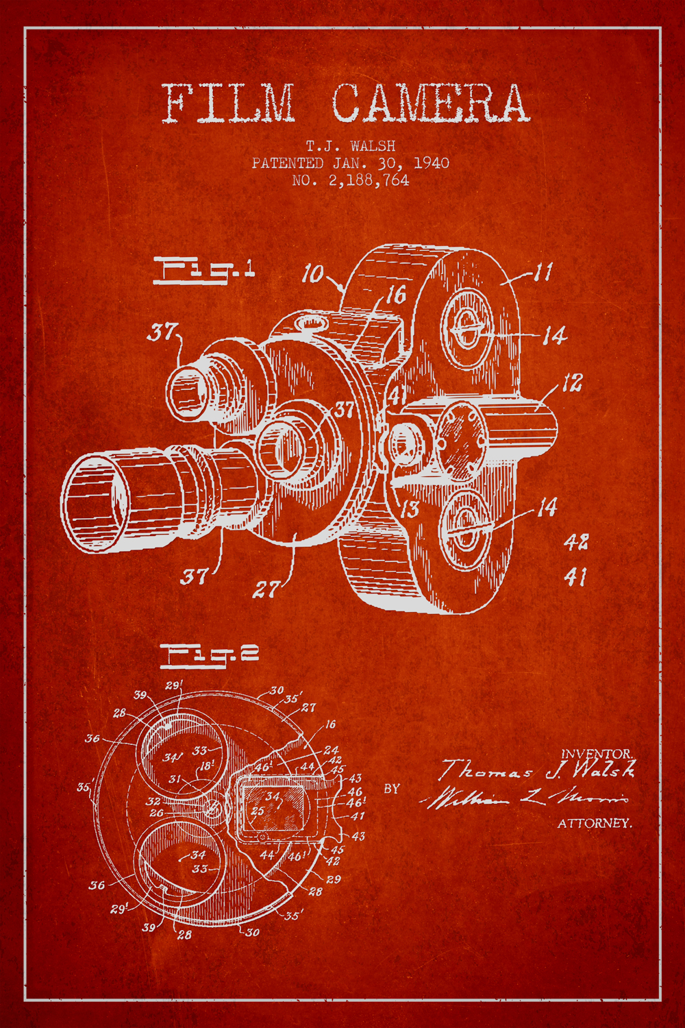 Red blueprint of a film camera with white text