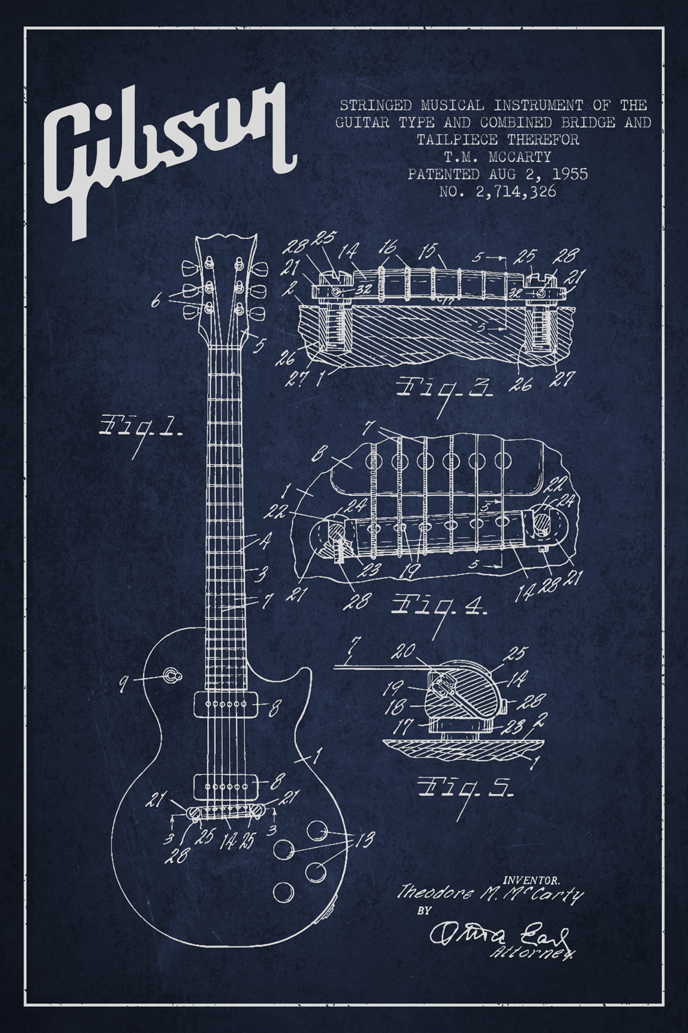 Dark blue blueprint of a Gibson guitar in white text