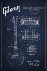 Dark blue blueprint of a Gibson guitar in white text