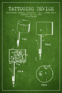 Green blueprint of a tattoo machine with white text